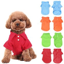 KingMas 4Pc Pet Dog Puppy Polo T-Shirt Clothes Outfit Apparel Coats Tops,Size:Large