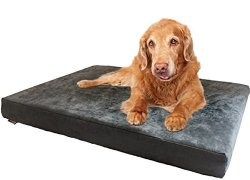 Large Advanced Cooling Breathable Washable Foam Waterproof Pet Bed for Medium Large Dog with Gray Microsuede Cover