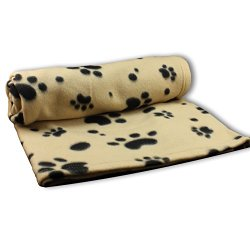 Large Fleece 60 x 39 Inch Pet Blanket with Paw Print Pattern – Animal Supplies by bogo Brands