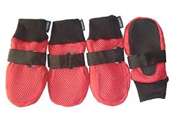 Lonsuneer Protective Dog Boots Nonslip Breathable and Flexible for Dog Daily Walks, Size M, L, Xl, Red Color (Large – Inner Sole Width 2.83 Inch)