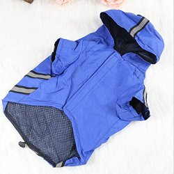 OCSOSO Reflective strips Design Dog Raincoats Pet Clothes Puppy Cat Waterproof Hoodie (Blue, 8″)
