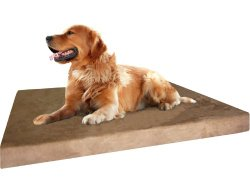 Orthopedic Durable Extra Large Memory Foam Pet Bed with Waterproof Washable Brown MicroSuede Cover and Extra Free Bonus Case 40″X35″X4″