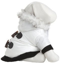 Pet Life Metallic Ski Parka in Winter White – X-Small