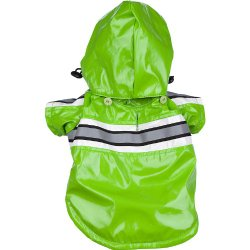 Pet Life Reflecta-Glow PVC Raincoat in Green – Small