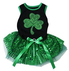 Pet Supply St Patrick's Day Clover Leaf Black Top Green Sequins Tutu Dog Dress (Medium)