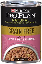 Purina Pro Plan Wet Dog Food, Natural, Grain Free Beef & Pea Entrée, 13-ounce Can, Pack of 12