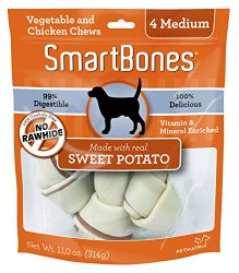 SmartBones Sweet Potato Dog Chew, Medium, 4-count