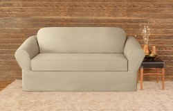 Sure Fit 40486 Cotton Twill Separate Seat Loveseat Slipcover, Dark Flax