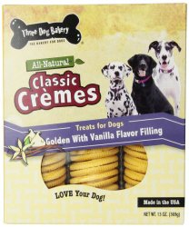 Three Dog Bakery 13-Ounce Classic Cremes Golden with Vanilla Filling Baked Dog Treats