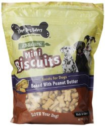Three Dog Bakery Biscuits Miniatures Peanut Butter Dog Treats, 32-Ounce