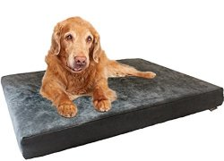 XXL Extra Large Advanced Cooling Breathable Washable Foam Waterproof Pet Dog Bed with Gray Microsuede Cover 55″X37″X4″
