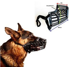 Basket Cage Dog Muzzle Size 5 – LARGE – Adjustable Straps – BLACK, by Downtown Pet Supply