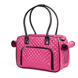 BETOP Mirror Surface Faux Leather Tote Purse Dog and Pet Carrier Travel Bag, Pink