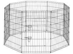ALEKO 48 Inch Dog Playpen Pet Kennel Pen Exercise Cage Fence 8 Panel, Black