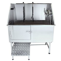 Flying Pig 50″ Stainless Steel Pet Dog Grooming Bath Tub with Walk-in Ramp & Accessories (Left Door/Right Drain)
