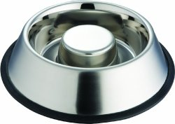Indipets Extra Heavy One Piece Stainless Steel Non Tip – Anti Skid Health Care Slow Feeding Dish, Medium