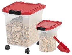 IRIS 3-Piece Airtight Pet Food Storage Combo, Garnet Red