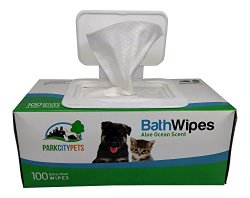 Park City Pets – Dog & Cat Grooming Wipes – Large Hypoallergenic Bath Wipes – 100 count – Eco-Friendly Box