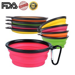 PetBonus Collapsible Pet Bowl,Silicone Pop-up Travel Bowl,for Dog & Cat Bowls(set of 4)-with a Free Black Carabiner Per Set