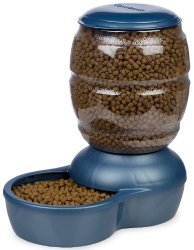 Petmate Replenish Pet Gravity Feeder with Microban, 10-Pound Capacity, Pearl Peacock Blue