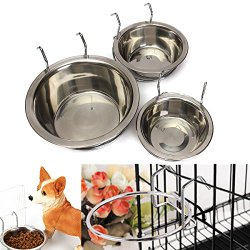 Yosoo Spill Proof Stainless Steel Coop Cup Hanging Pet Kennel Cup Water Bowl with Hanger