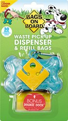 Bags on Board Marble Bone Dispenser, Turquoise, 30 Bags