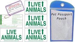 Live Animal Label Set of 5 w/ Pet Passport Pouch BLUE