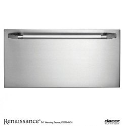 EWD24SCH Renaissance Epicure Warming Drawer With Blue LED Light Indicator 4 Timer Settings Plus Infinite Mode 500 Watt Heating Element & 24-in. with SS Handle and Chrome