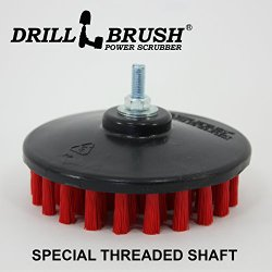 Stiff Red Threaded 5 inch Professional and Contractor Scrub Brush fits Electric and Air Pneumatic Dual Action Rotary Polishers and DA machines