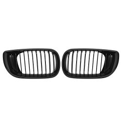 Matte Black Euro Front Upper Kidney Grille For 2002 2003 2004 2005 BMW E46 3 Series 320 325 330 4D (Pair)