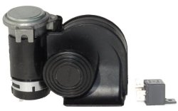 Nautilus 139db Compact Dual Tone Air Horn Just Plug-n-Blow-Black Finish