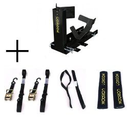 Condor Motorcycle Trailer-Only Chock / Simple Chock for Wheel Chock or Trailer Stand (SC-2000) with FREE Sets of Ratchet Tie-downs, Soft Ties, and Ratchet Strap Soft Covers.