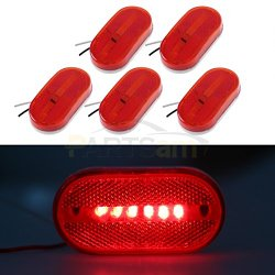 Partsam (5) 12V Oval Oblong Red Side Marker Clearance Lamp w/ White Base Replacement Light