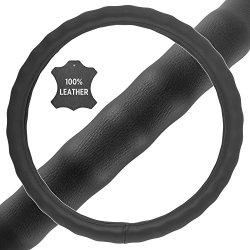 BDK Genuine Leather Steering Wheel Cover Large 15″-16″ Black