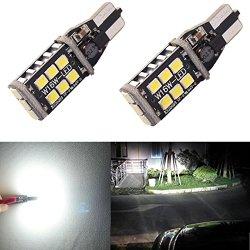 Alla Lighting 921 912 906 T15 Super Bright 800 Lumens 6000K Xenon White High Power 2835 15-SMD LED Lights Bulbs for Back Up Reverse Light