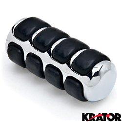 Krator® New Chrome Round Shift Peg Cover Brake Toe Heel Shifter Pedal Pad Black Rubber Shift Peg Cover Brake Toe Heel Shifter Pedal Pad