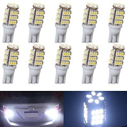 XT AUTO 10pcs Super Cool White T10 Wedge 42-SMD 3528 LED Light bulbs W5W 2825 158 192 168 194 for Car Boot Trunk Map Light Number Plate License Light
