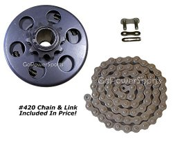 GoPowerSports Go Kart 10T Clutch and Chain Combo Kit for #420