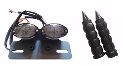 Cat Eye LED Brake Tail light Integrated With Turn signals Black Hand Grips 1″