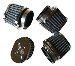 FOUR Oval POD Air Filters SUZUKI 52MM SUZUKI YAMAHA KAWAZAKI CHROME CAP