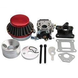 GOOFIT 15mm Racing Carburetor Kit Carb Air Filter Stack 49cc Mini ATV Dirt Pocket Bike