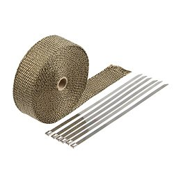 HM&FC Double Thickness Titanium Exhaust Wrap with Size 0.12 Inch (T) * 32 Feet (L) * 2 Inch (W)