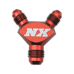 """Nitrous Express 16083 Red D-6 x -4 x -4 Billet Pure Flo """"Y"""" Fitting"""