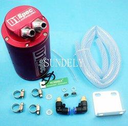SUNDELY® Red Aluminum Universal Car Motor Racing Sports Engine Oil Catch Reservoir Can Tank Cylinder + Hose