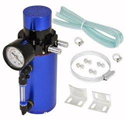 Universal Engine Motor Oil Catch Can Tank Air Gauge Breather Filter Bypass Blue Aluminum