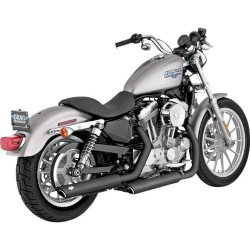 Vance & Hines 3in Round Twin Slash Slip-On Mufflers – Black , Color: Black 46839