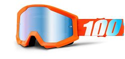 100% Strata Goggle – Orange with Mirror Blue Lens