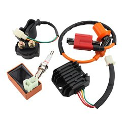GOOFIT Racing Ignition Coil CDI Spark Plug Voltage Regulator Rectifier Relay 150cc 200cc 250cc ATV Quad Go Kart Moped and Scooter