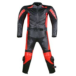 2PC MOTORCYCLE 2 PC LEATHER RACING SUIT ARMOR RED 40