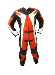 2pc Motorcycle Riding Racing Leather Suit w/ Hard Padding & Armor New Track Suit -Small